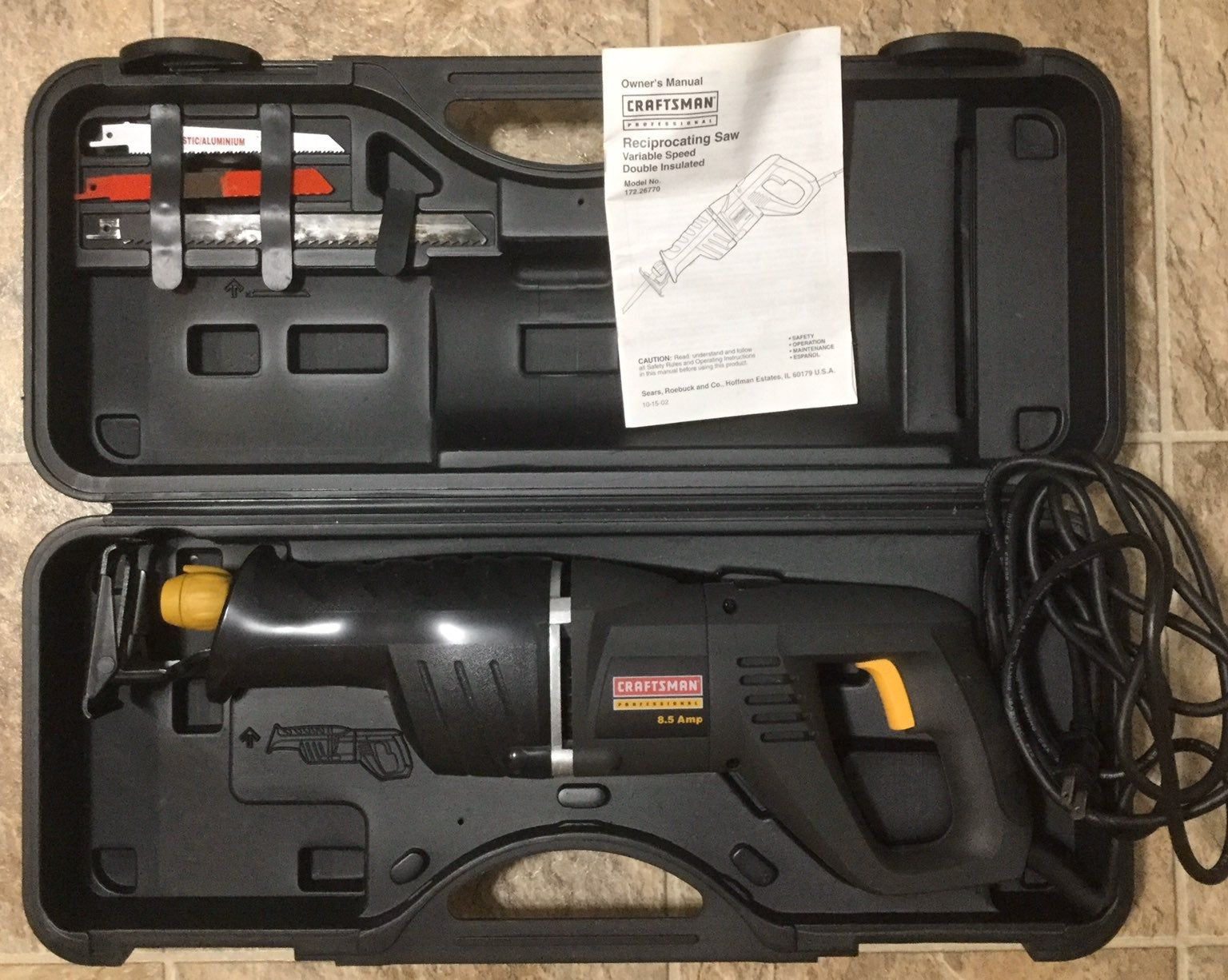 New Without Tags Open Box Craftsman Professional 8 5 Amp Corded Reciprocating Saw Model 172 26770 With Reciprocating Saw Craftsman Craftsman Tools