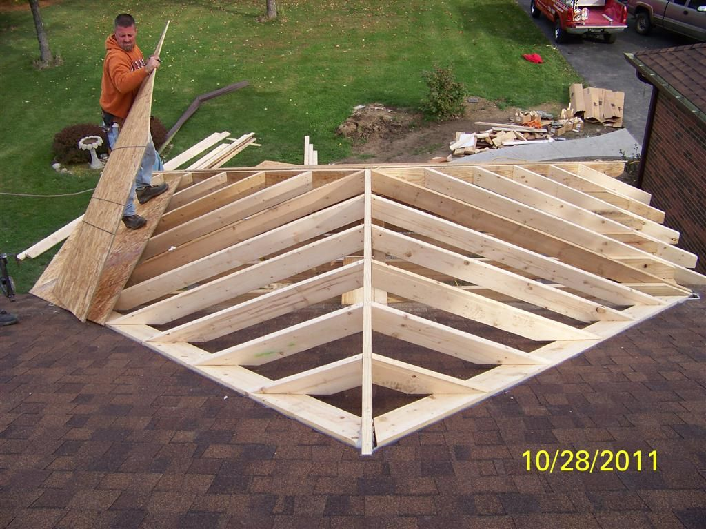 Roof framing front porch addition lauras room for Roof addition