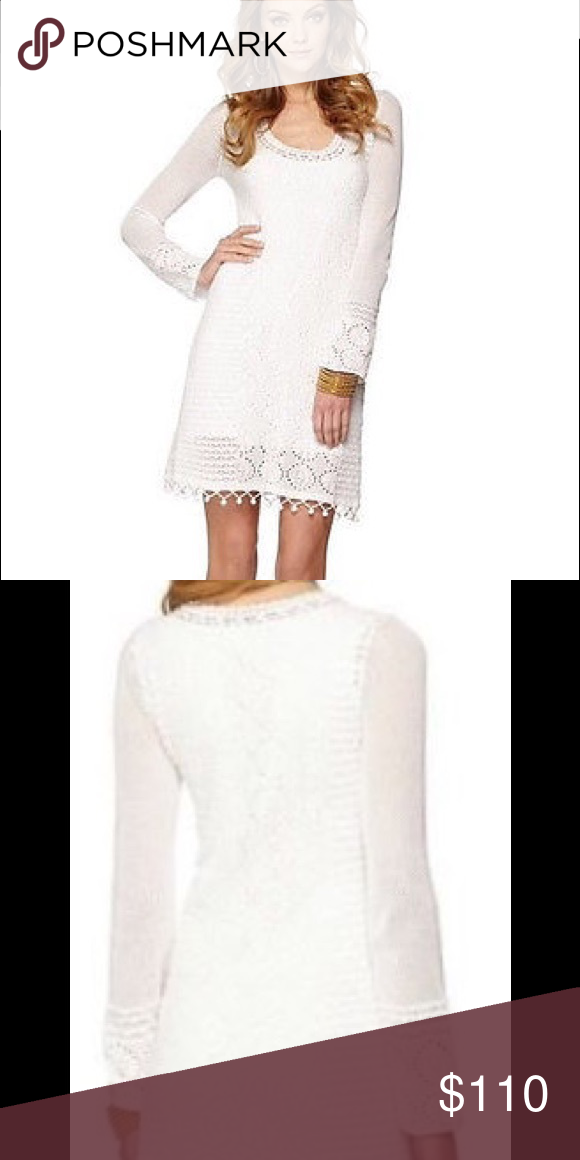775e17ce73b Long Sleeve Sweater Dress With Mixed Stitches And Hand Crochet At Hem.  Combed Cotton (100% Cotton). Hand Wash Cold. Import Lilly Pulitzer Dresses  Midi