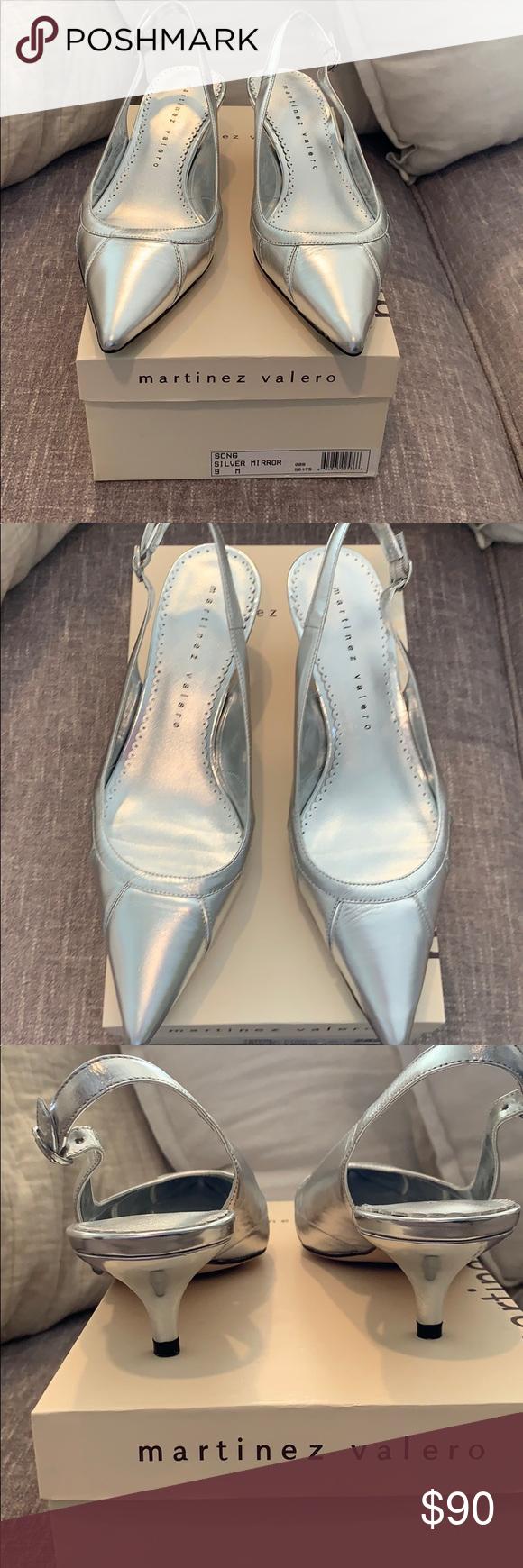 Silver Leather Sling Back Pump Kitten Heel Kitten Heel Pumps Shoes Women Heels Kitten Heels