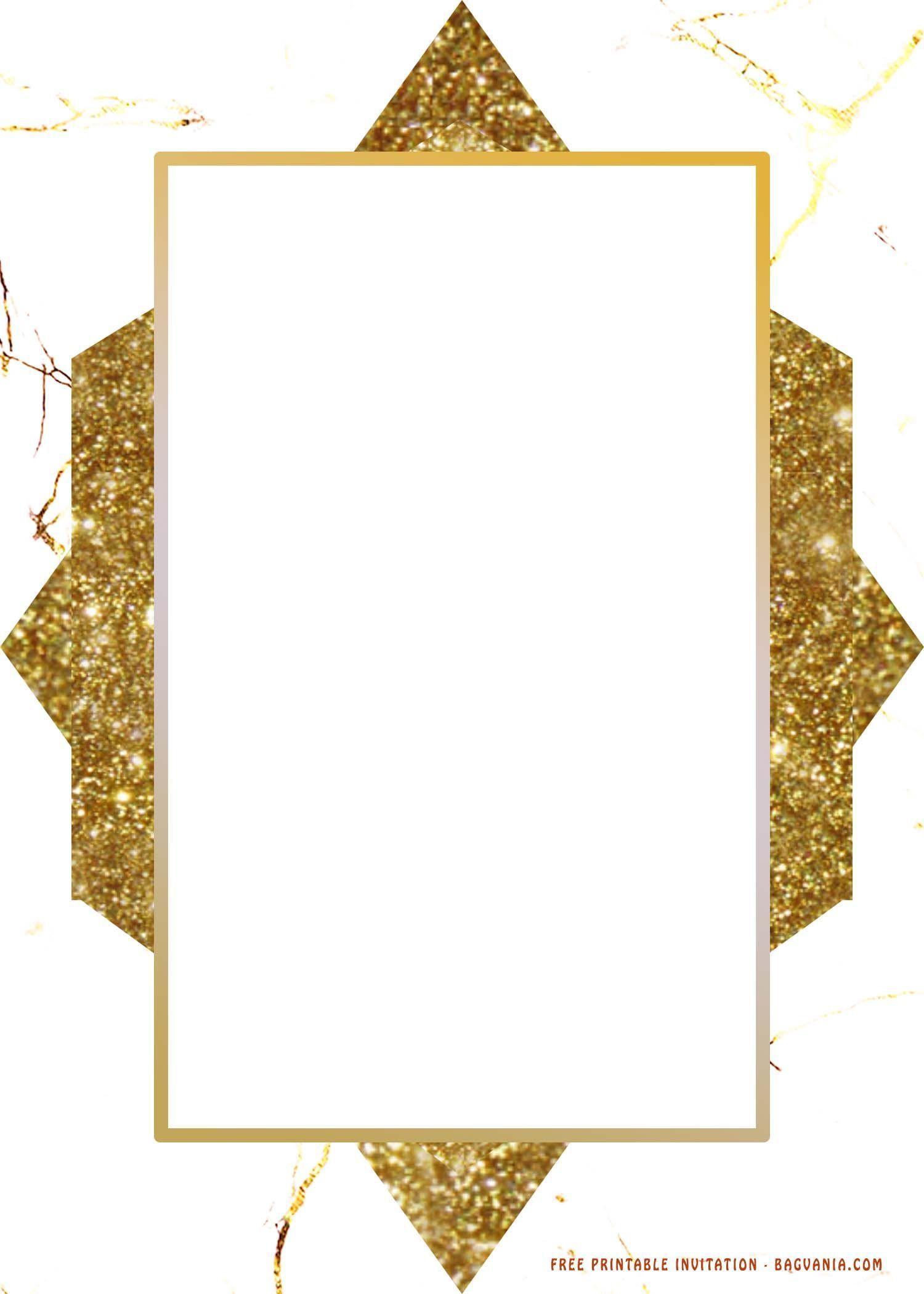 (FREE printable) - Golden marble texture invitation ...