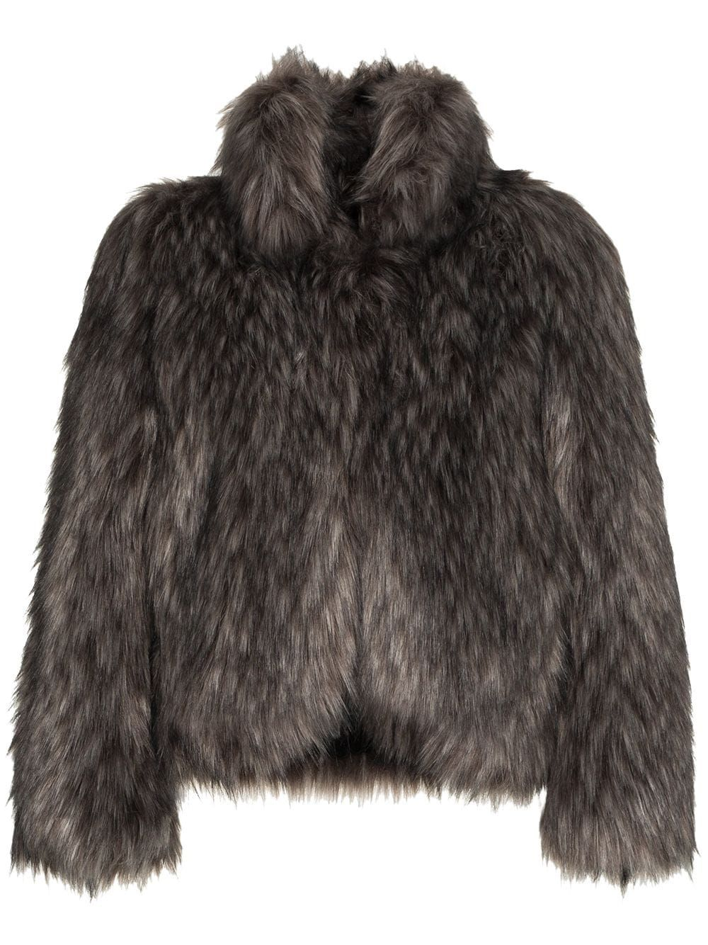 Short faux fur jacket with a collar