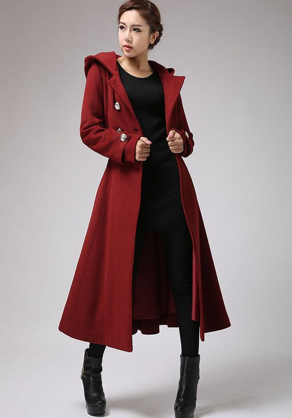 comfy and chic, this wine red wool coat featured with a Big hood ...