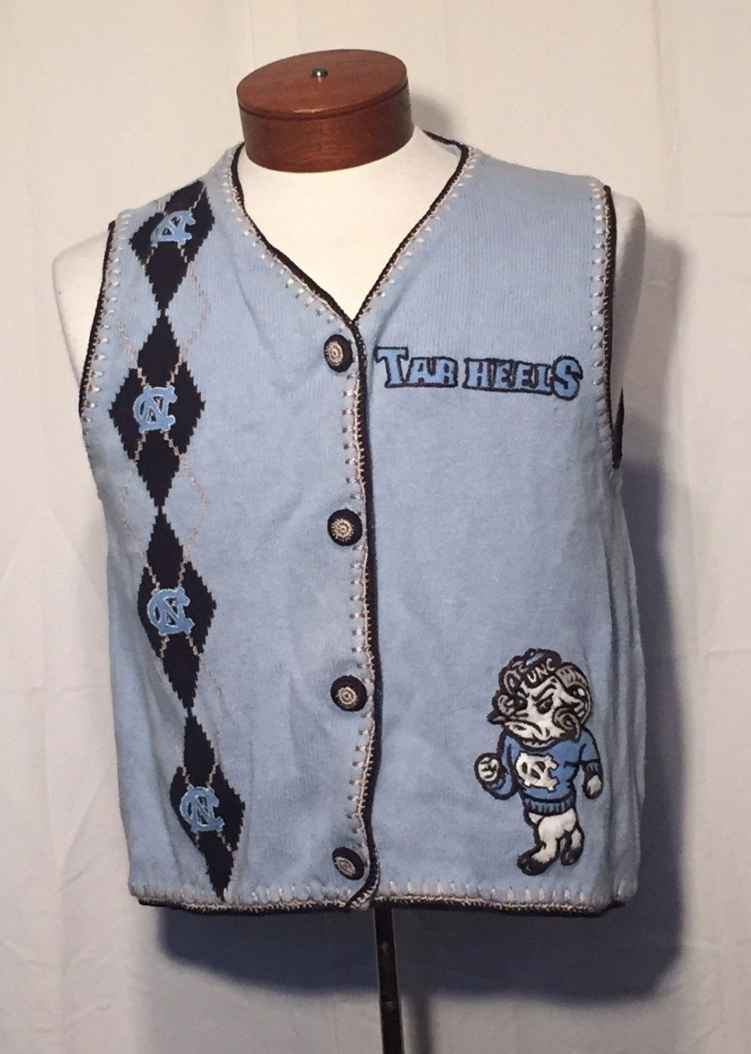 Vintage UNC Carolina Blue Tarheels with Argyle Knit Sweater Vest ...