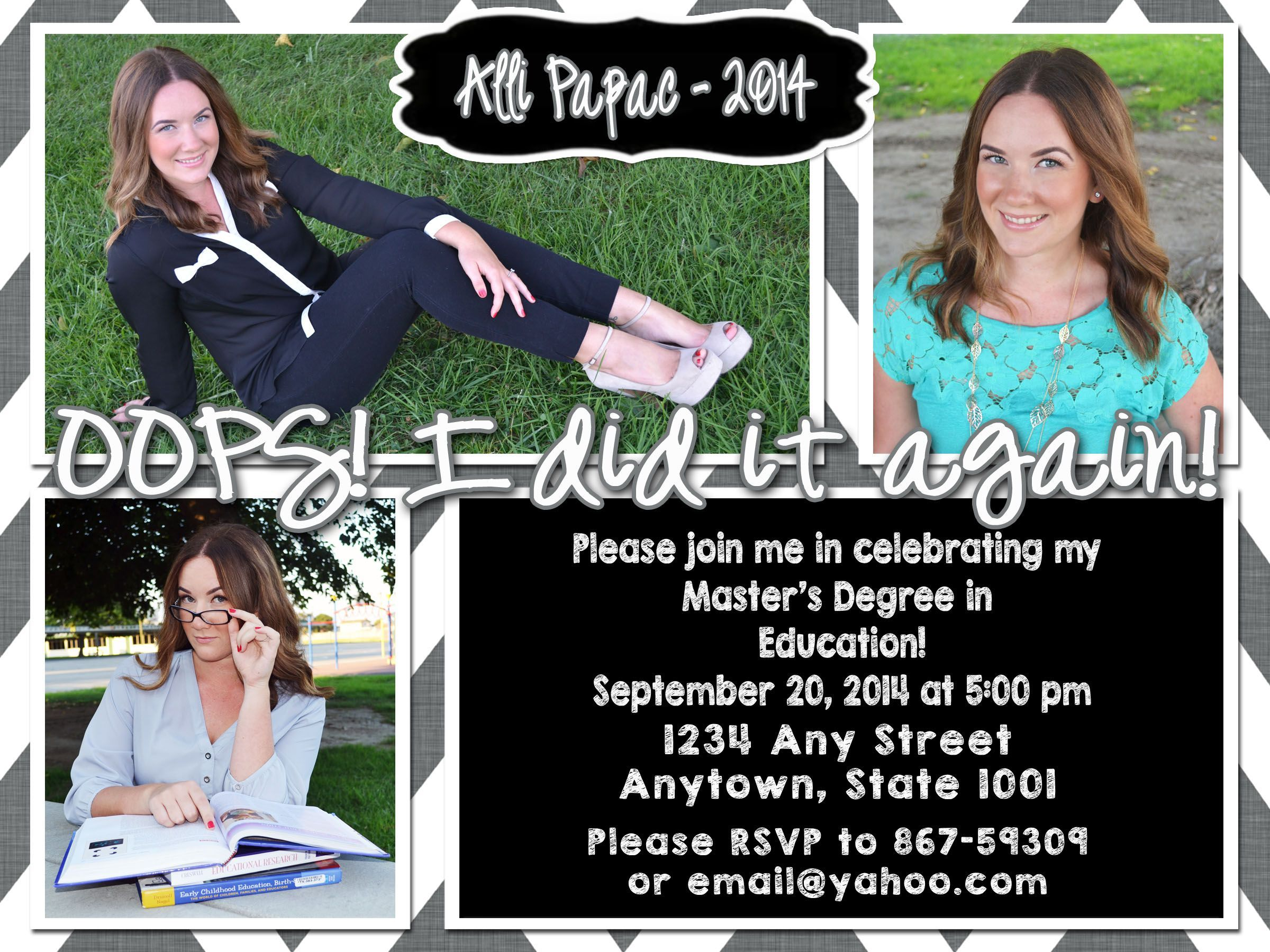 Graduation announcement for masters degree i took the photos and graduation announcement for masters degree i took the photos and designed the card so proud of her filmwisefo