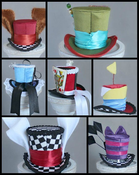 Set of 7 Wonderland Mini Top Hats,Mad Hatter Hat, White Rabbit Hat, Red Queen Hat, Tweedledee Dum Hat, March Hare Hat, Cheshire Cat Hat #queenshats