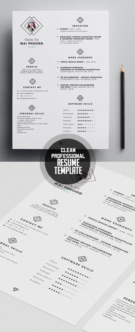 Professional Free Resume Template cv grafics Pinterest