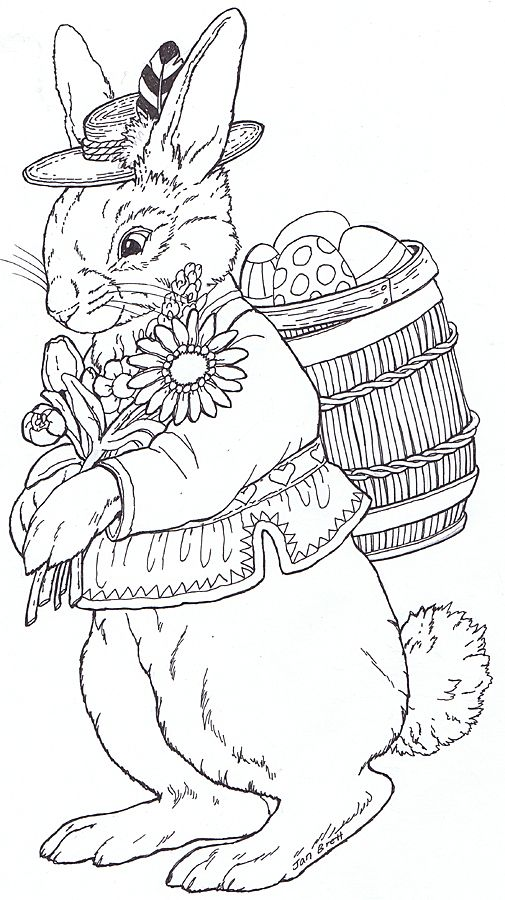 Rudi Bunny By Jan Brett I Like These Realistic Easter Bunnies There Are A Bunch More On The Jan B In 2020 Easter Coloring Pages Bunny Coloring Pages Easter Colouring