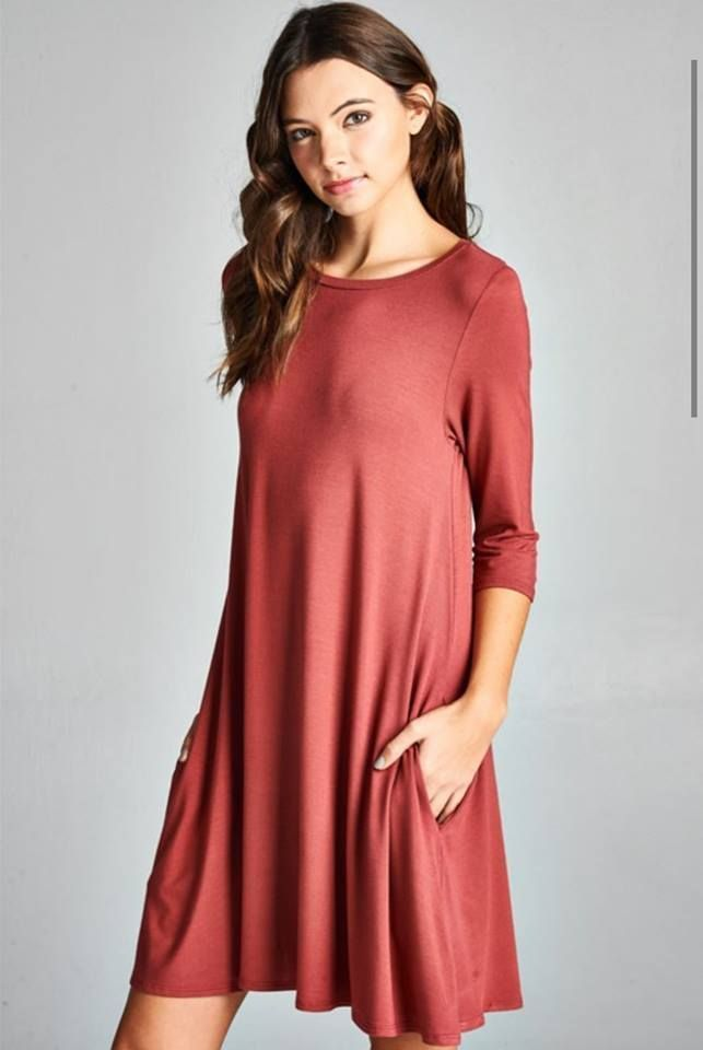 Flowy Plus Size A Line Dress With Pockets Salmon Color Dresses