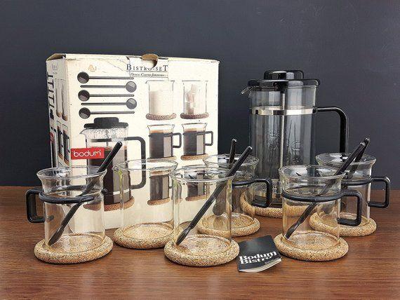 Bodum Bistro Coffee Pot Mugs Sugar Creamer Cork Coasters Spoons In Original Box Tea Gl