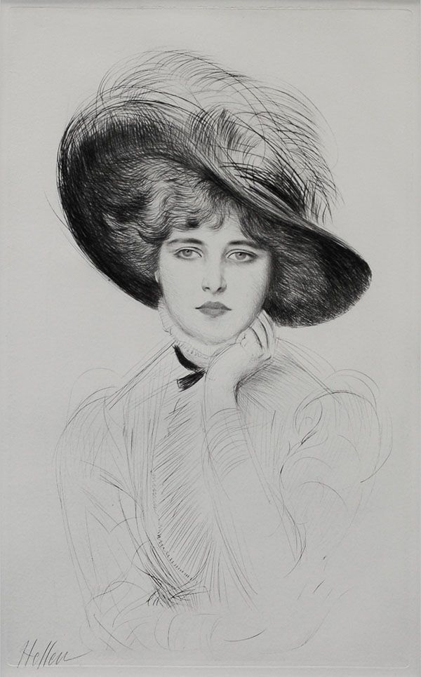 Femme au Chapeau  Etching with drypoint, plate size 22 1/4 x 13 5/8 inches, c. 1900, pencil signed. Helleu began his art career when he enrolled at the Ecole des Beaux Arts and worked as an apprentice for Theodore Deck, decorating ceramic plates with women's portraits. He became friends with many artists of La Belle Epoch, including John Singer Sargent, Whistler, Tissot, Monet and Rodin