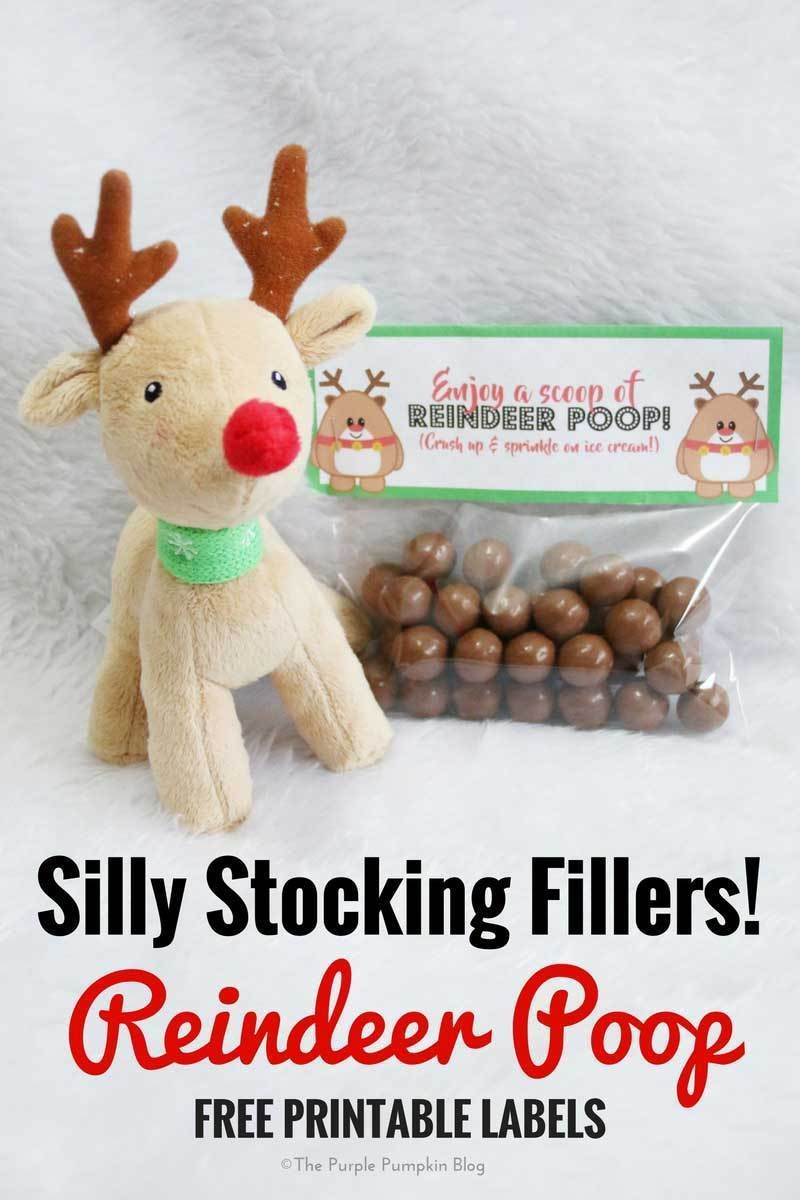 Silly Stocking Fillers! Reindeer Poop  Free Printable Labels is part of Reindeer poop, Homemade stocking stuffers, Labels printables free, Free christmas printables, Christmas crafts for kids to make, Homemade stocking fillers - Bags of Reindeer Poop make fab silly stocking fillers! Of course, it's just chocolate balls! Free printable labels + instructions here