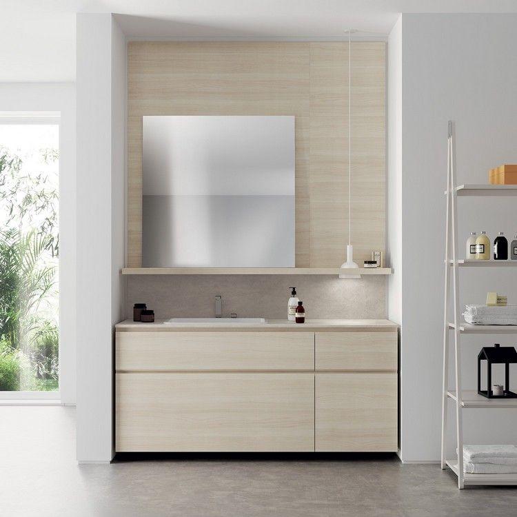 Badezimmerausstattung Helle Holzoptik Quadratischer Spiegel #kitchen  #bathroom #modern #ideas