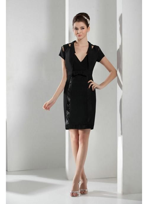 V Neck Short Sleeves Black Wedding Guest Dress