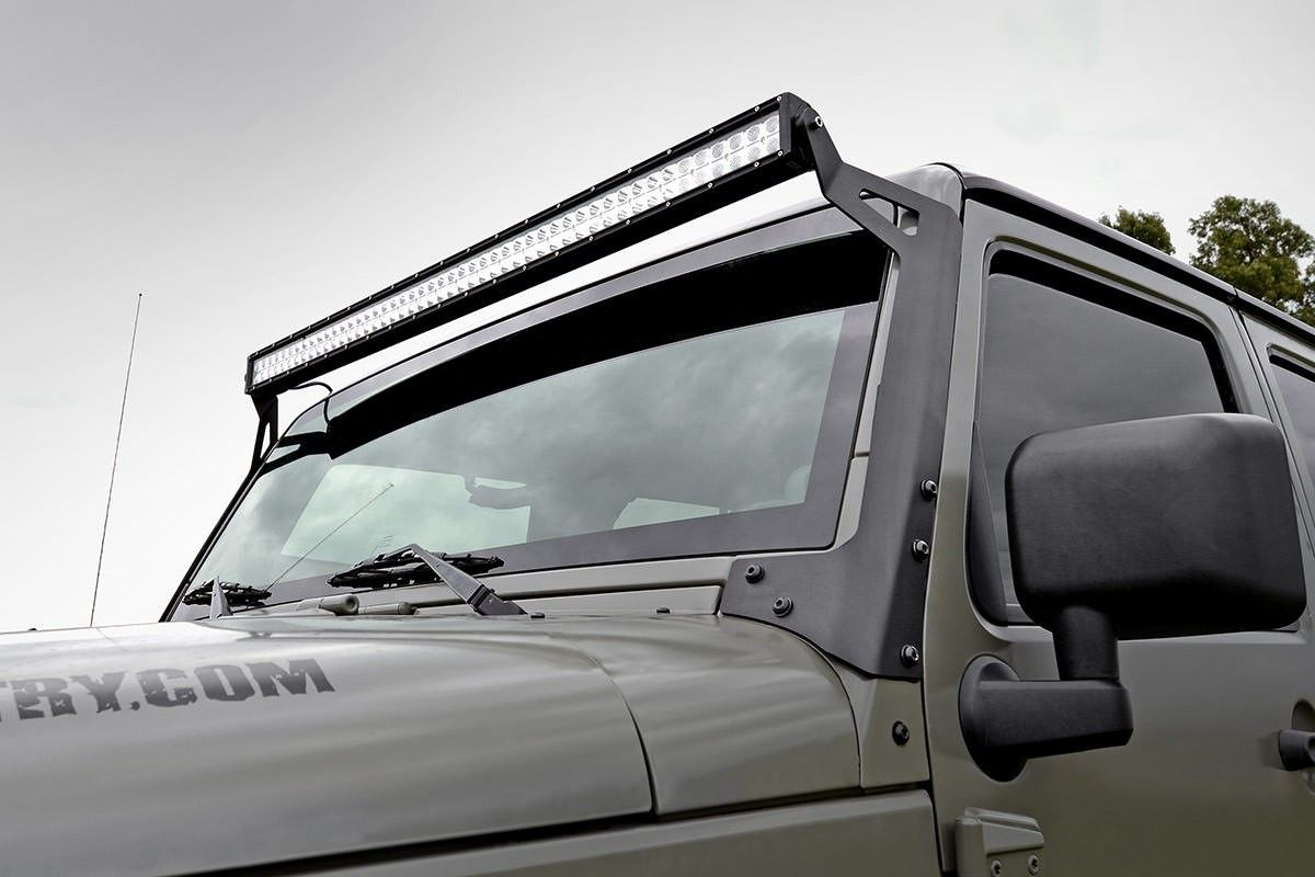 Jeep 50 Inch Straight Led Light Bar Upper Windshield Mounts 07 18 Wrangler Construction Rough Countrys Bracket Is The Ultimate Solution For Adding Our Premiere Lighting System To Your Jk