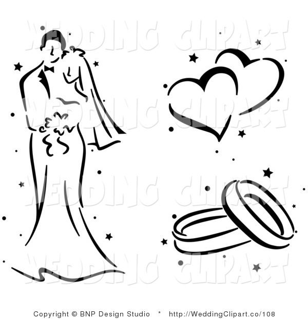 Http Weddingclipart Co 600 Vector Cartoon Marriage Clipart Of A Black And White Wedding Couple Hearts And Wedding Couples Wedding Clipart Wedding Silhouette
