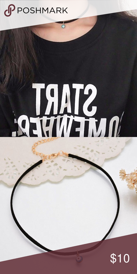 Evil Eye Black Suede Choker Necklace NWT Brand new, black suede Choker with evil eye charm. Has a lobster clasp closure, and extension to adjust fit. Urban Outfitters Jewelry Necklaces