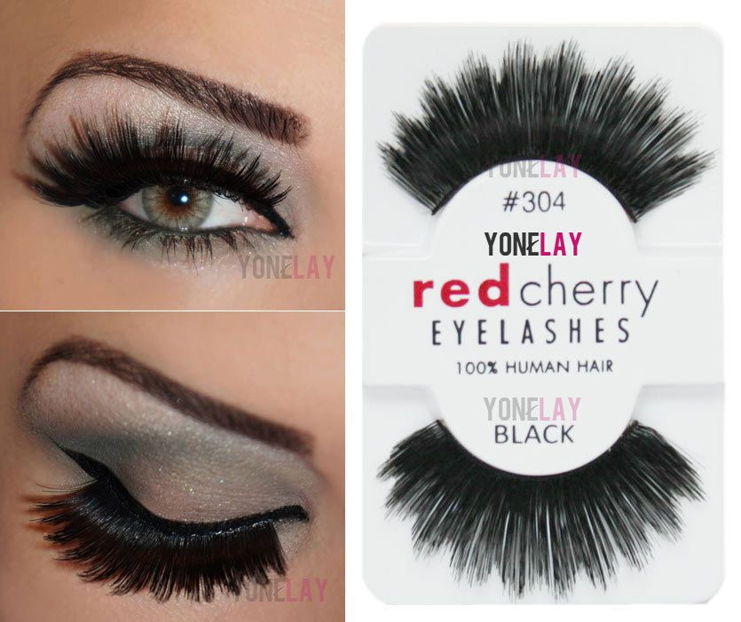 Lot 3 Pairs RED CHERRY #304 False Eyelashes Human Hair Lash Fake Eye Lashes #RedCherry