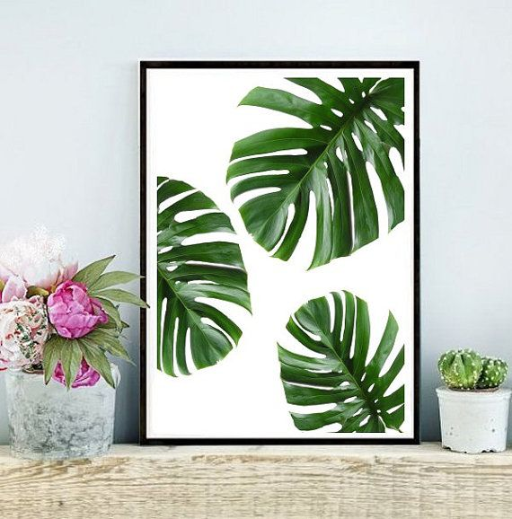 Tropical Leaf Printable Art Monstera Leaves Tropical Leaves Tropical Decor Green Wall Decor Instant Download Wall Art Green Wall Decor Art Decor Diy Art Decor
