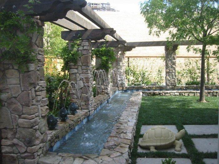 Wasserfall Im Garten Gartenbrunnen Gartengestaltung