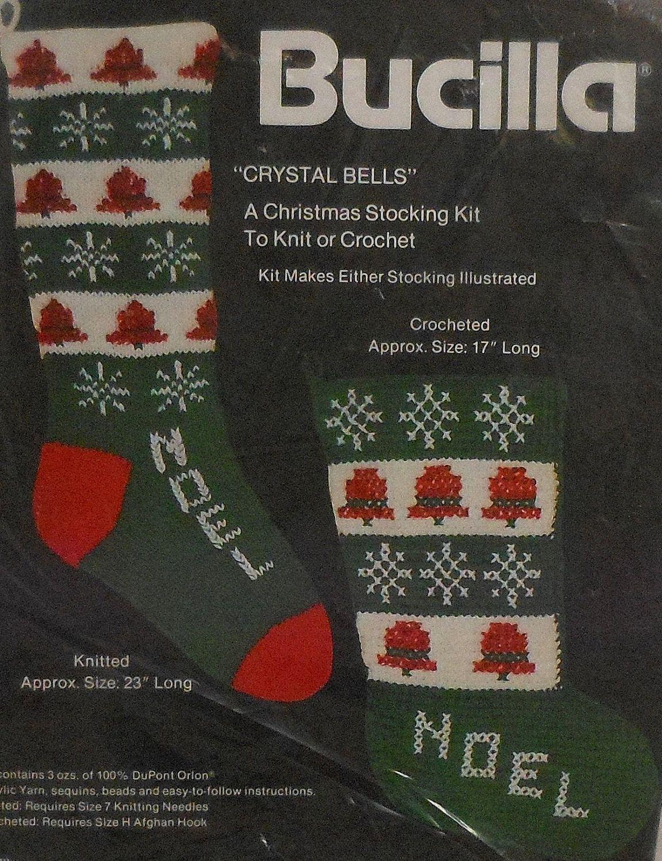 Vintage Bucilla Christmas Stocking Knitting and Crochet Pattern Kit ...