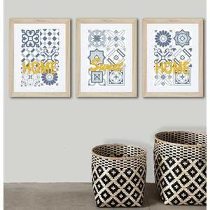 3 Affiches Carreaux De Ciment Bleu Et Jaune Idee Cadeau Deco