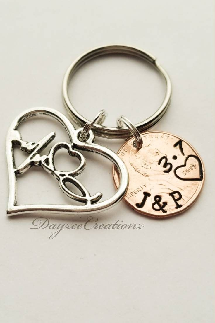 Personalized Penny Keychain, Anniversary Gift for Men, Women, Girlfriend, Boyfriend, Husband, Wife, Valentine's Day, Her, Couples, Sweetest