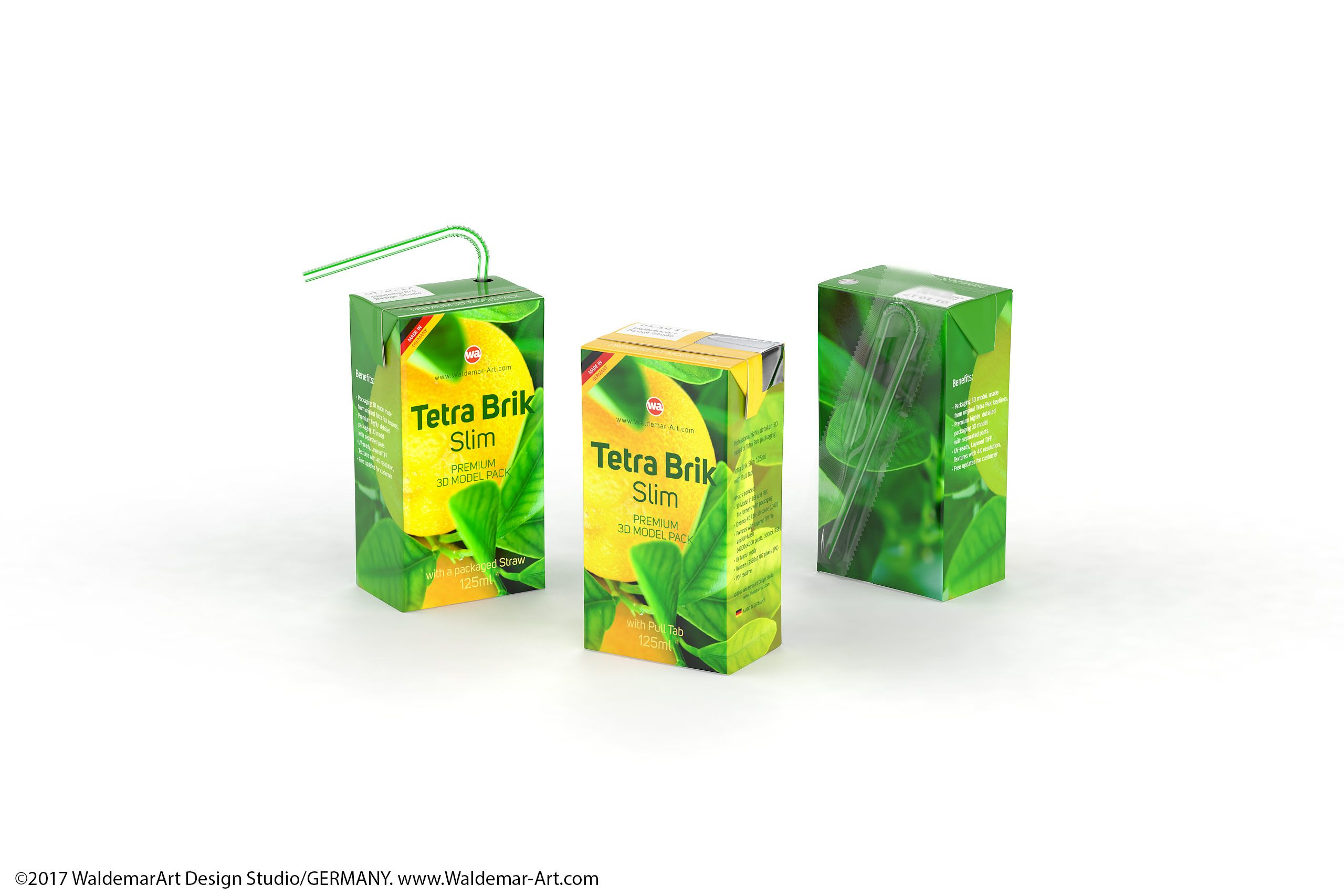 Tetra Pak Brik Slim 125ml with Pull Tab and a packaged ...