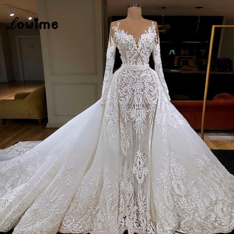 Luxury Lace Mermaid Wedding Dresses Illusion With Detachable Train