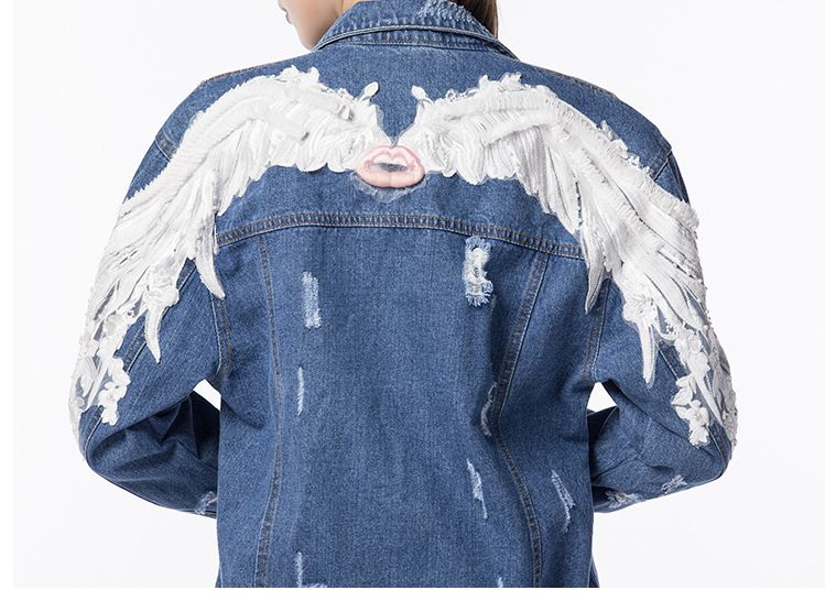 Colorful Sequin Angel Wings Patched Denim Jacket Custom Jacket Custom By Reanna Sz Large Reworked Distressed Denim Jacket With Wings