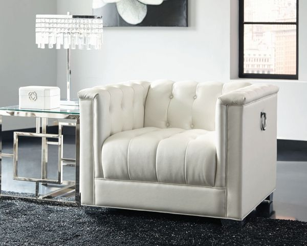 chaviano white silver faux leather wood chair and ottoman set
