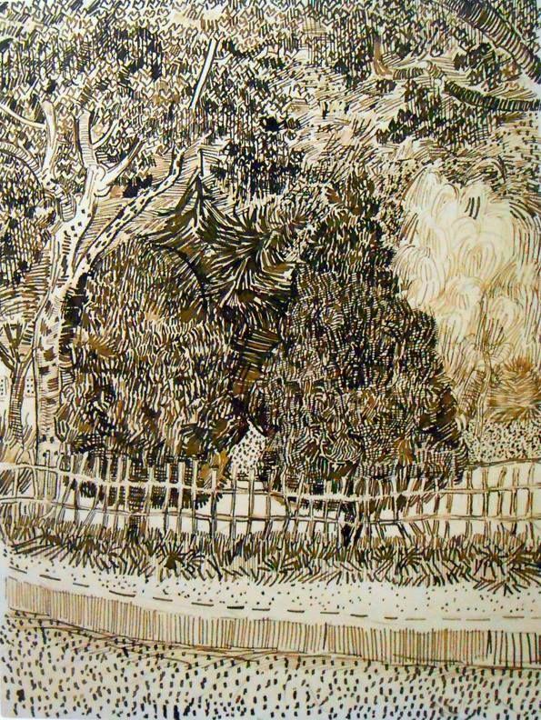 Public Garden In Arles, Pen Drawing By Vincent Van Gogh. The Garden Was  Across