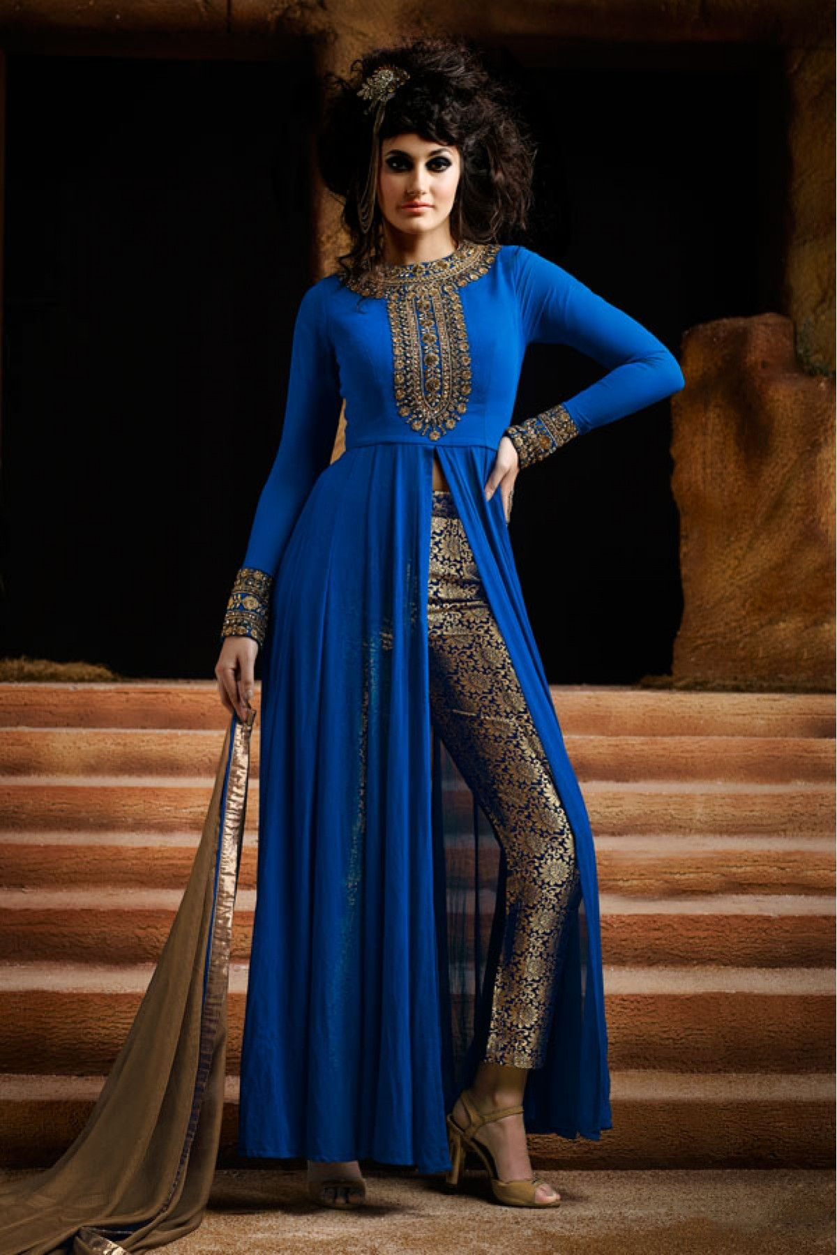 3c350ea039 Blue Colour Georgette Fabric Designer Semi Stitched Salwar Kameez Comes  With Matching Dupatta and Bottom Fabric. This Suit Is Crafted With  Embroidery.