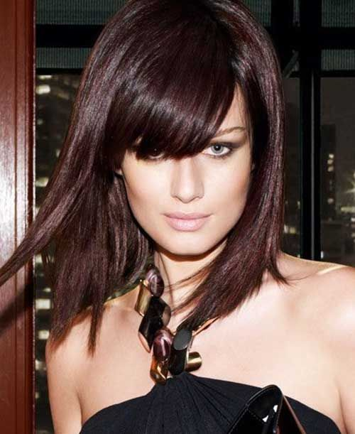 Brunette Hair Color with Bangs