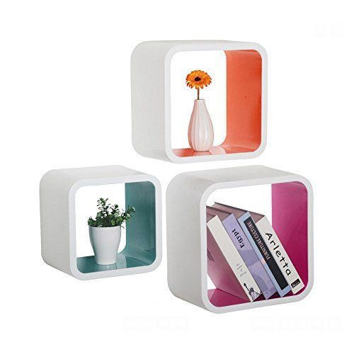 Welland Sunset Wall Storage Cubes Floating Shelves Set Of 3 Colorful Welland Http Www Amazon Com Dp B00mj Floating Cube Shelves Floating Shelves Wall Cubes