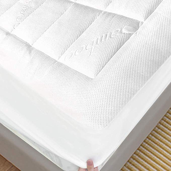 Enitya Bamboo Mattress Pad Queen Size Quilted Fitted Pillow Top Mattress Cover Mattress Topper Stretches Up To 21 In 2020 Bamboo Mattress Mattress Pad Mattress Covers