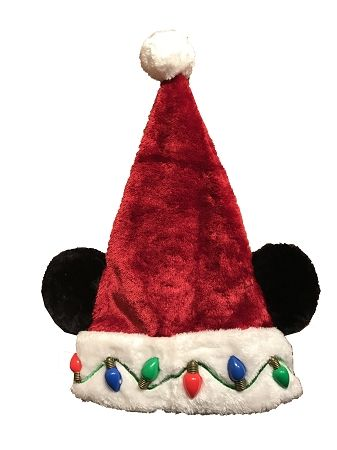 5eff6c2c34574 Disney Christmas Hat - Santa Mickey Mouse Ears - Light Up Lights ...