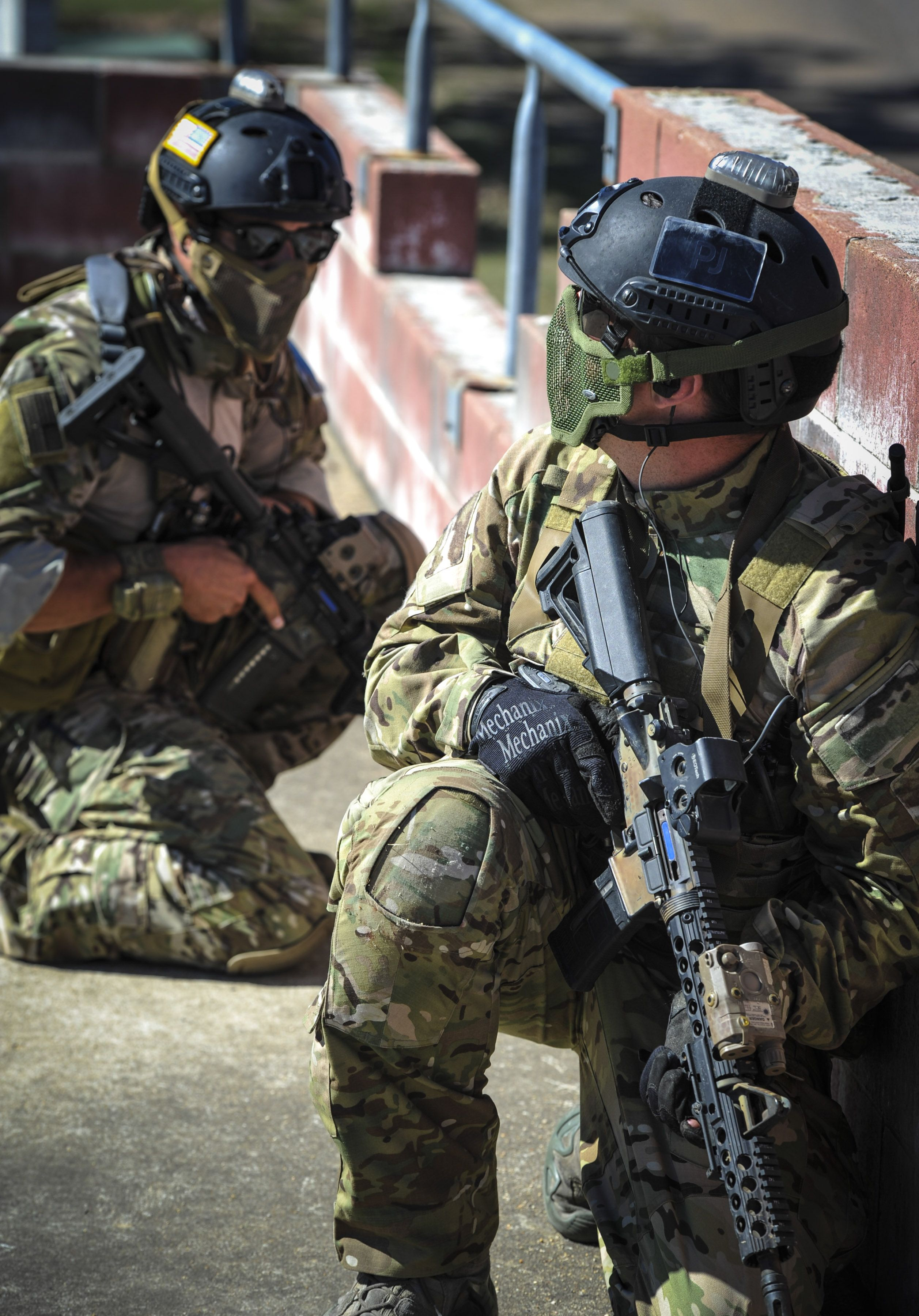 US Air Force Pararescue (129th Rescue Wing) secure the rooftop for