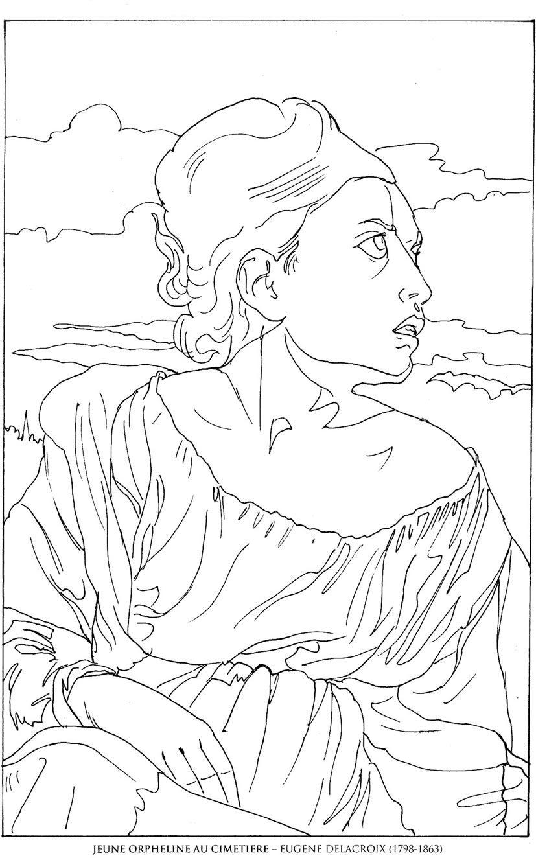Orpheline-au-cimetiere_Eugene-Delacroix Famous paintings coloring ...