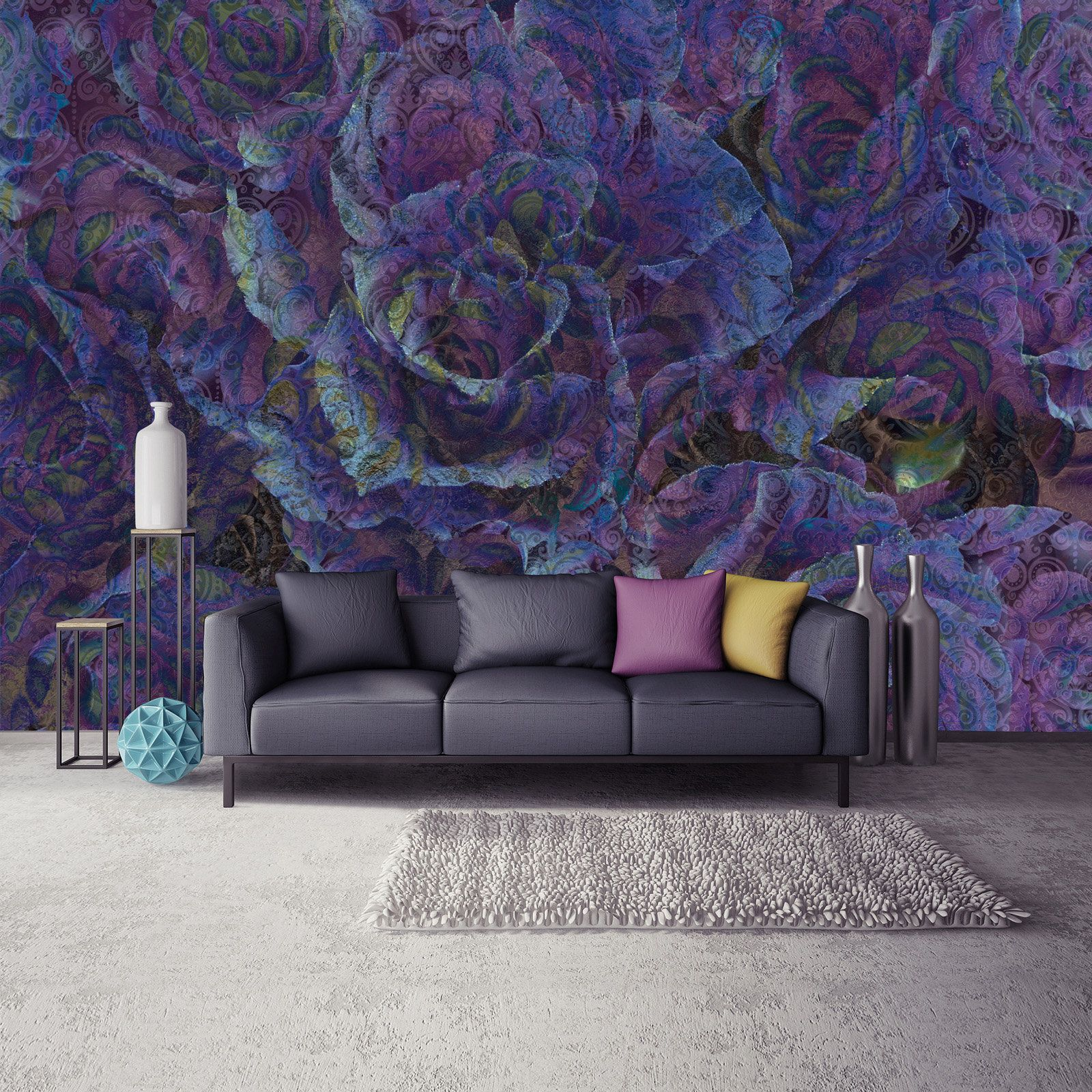 Purple ROSE Wallpaper Photo Mural Wall Decoration