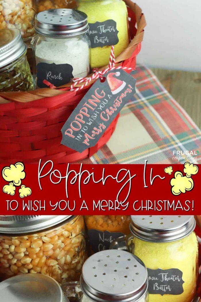 Popcorn Gift Basket with Printable Labels & Christmas Gift ...