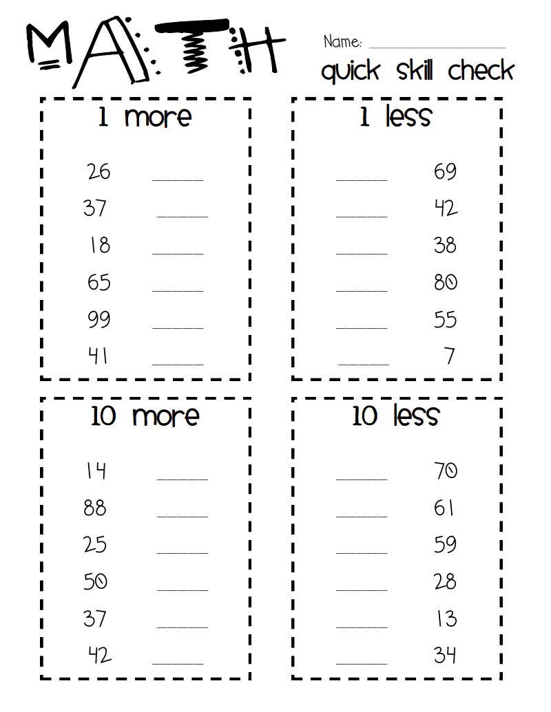 small resolution of 10 more less 1 more less quick check.pdf   1st grade math