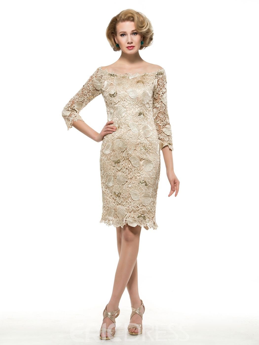 Beautiful off the shoulder lace mother of the bride dress