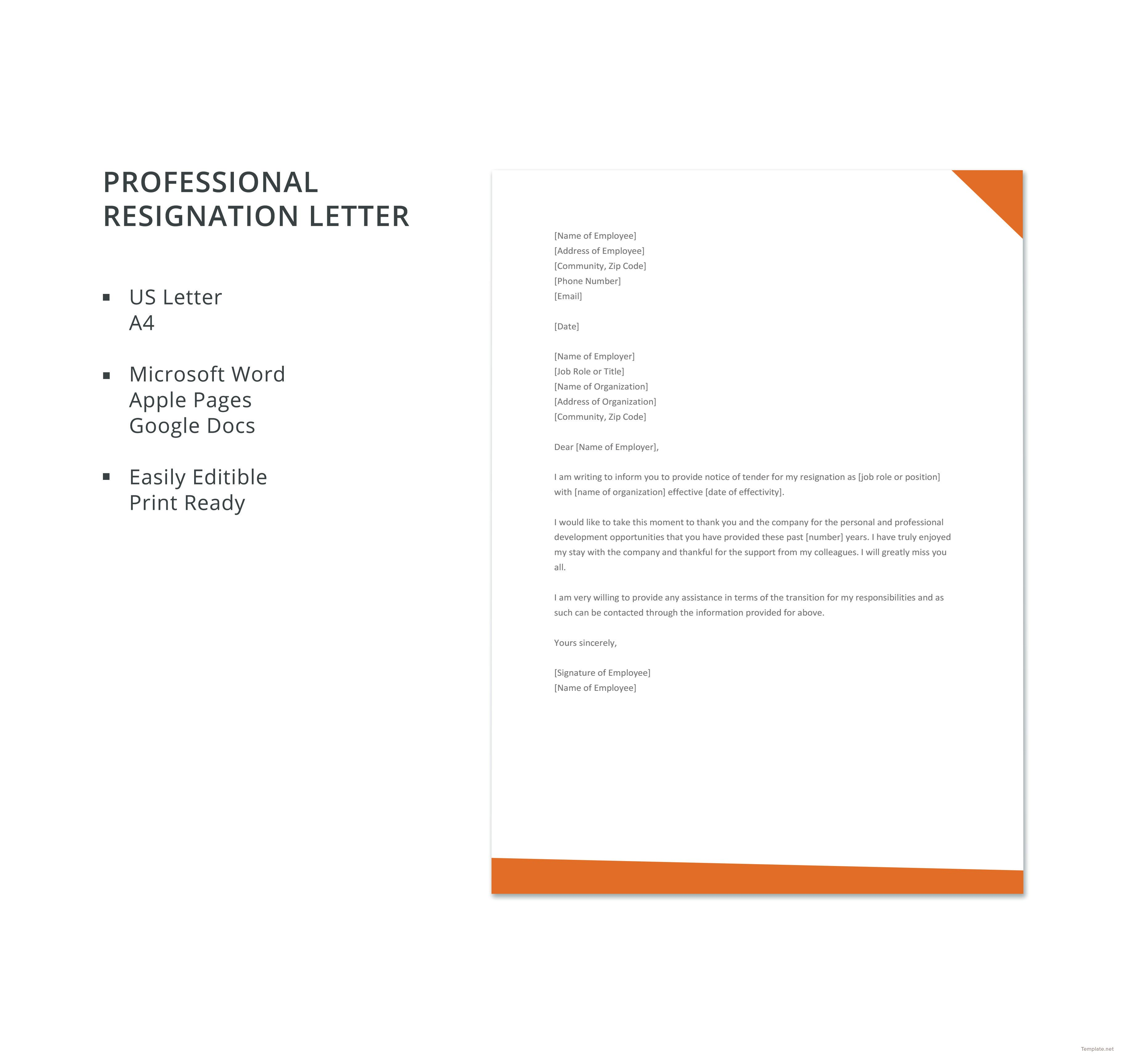 Free Professional Resignation Letter | Business