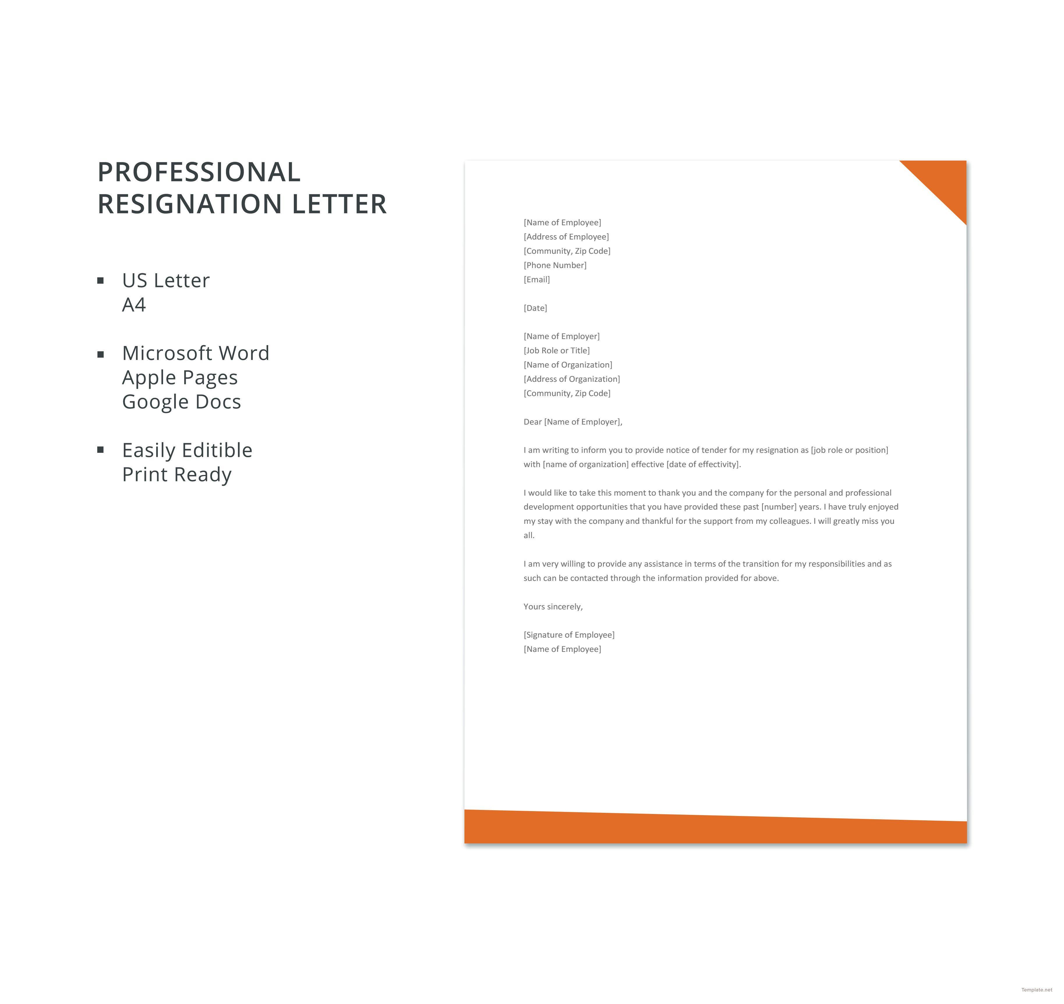 Free Professional Resignation Letter Professional