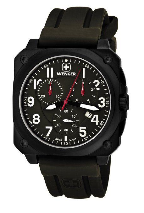 7c0b8b29f97d wenger 77011 - Reloj analógico de cuarzo para hombre con correa de silicona