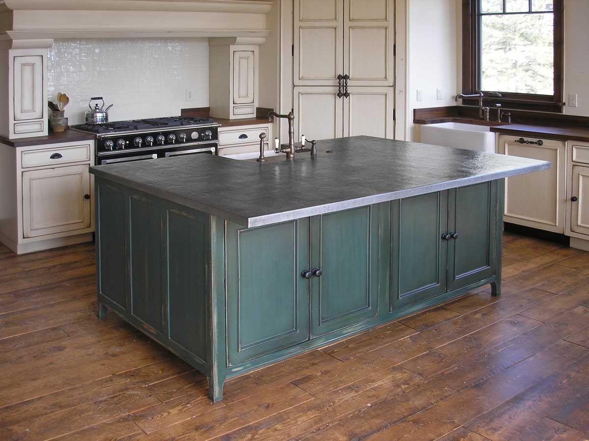 kitchen island with zinc countertop - Bing Images | Countertops ...