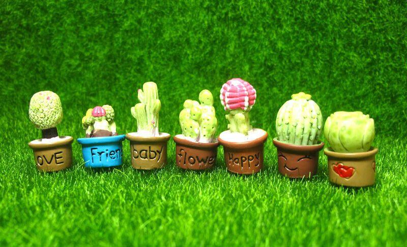 7Pcs Cactus Miniature Succulent Plants Dollhouse Garden Landscape Decoration