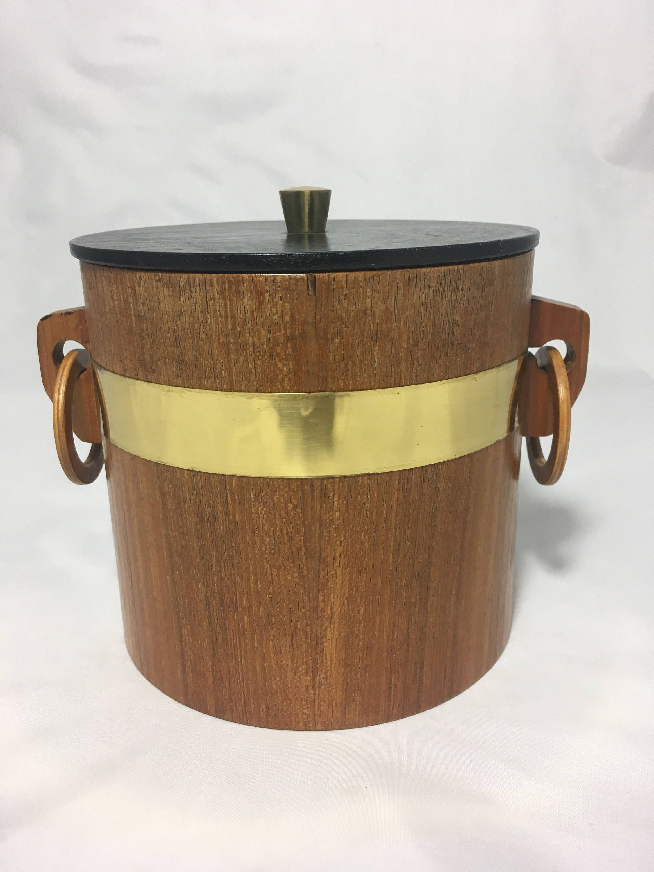 mid century modern ice bucket retro barware wooden ice holder  - mid century modern ice bucket retro barware wooden ice holder vintagekitchen bar decor housewarming gift present idea