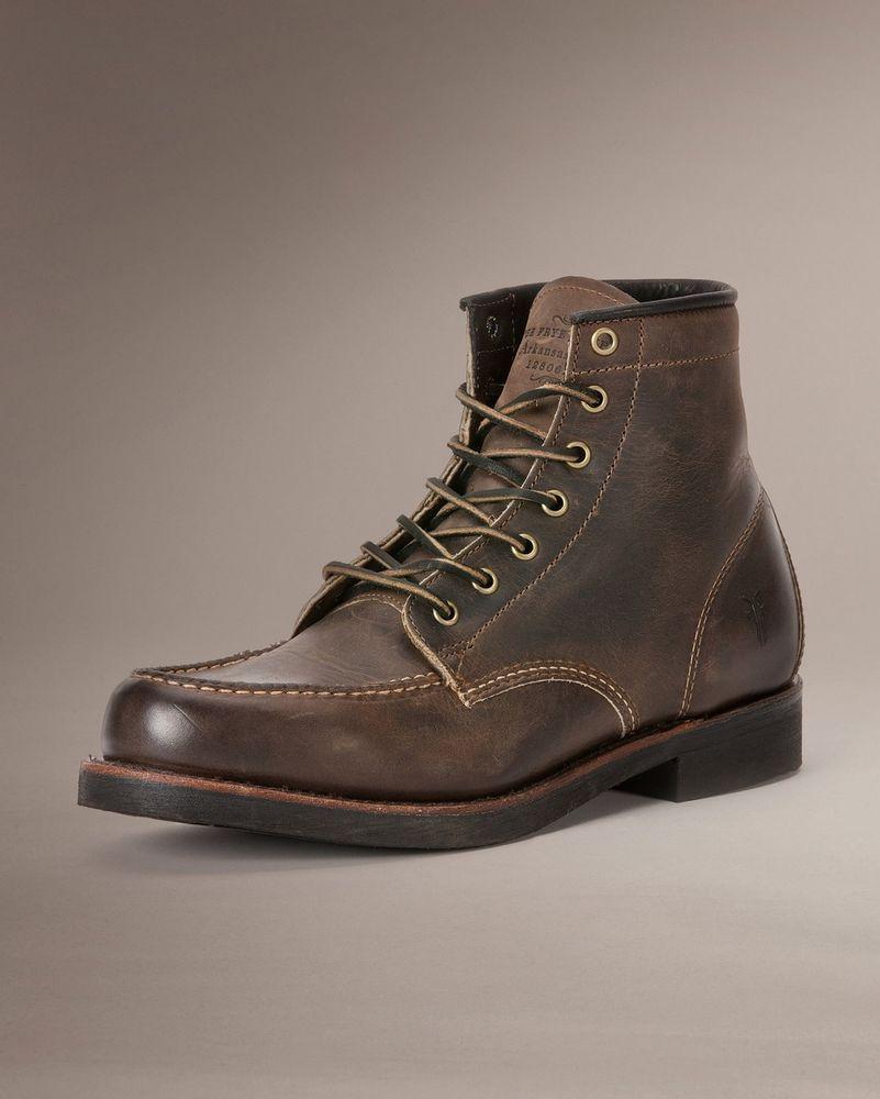 Mens Frye Boots Arkansas Moc Toe LaceUp Gaucho Brown Leather 87433 GAU